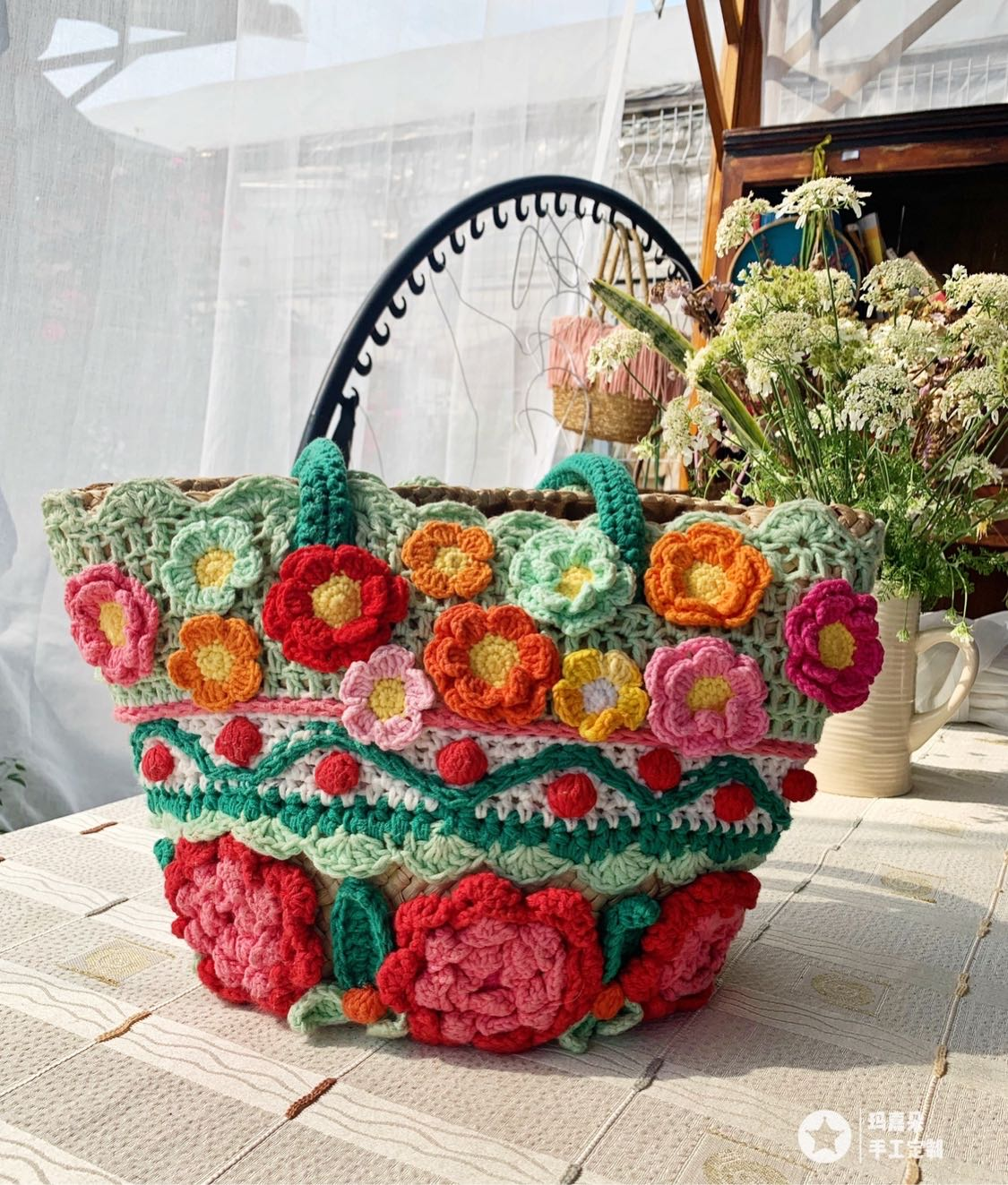 Original manual design of majado Flower Shadow colorful series big flower bag handbag French picnic basket material bag