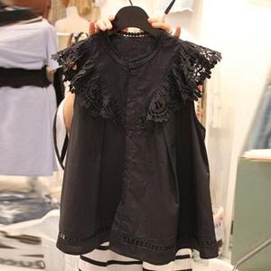 2020夏装新款韩范宽松单排扣显瘦背心衬衣小衫洋气衬衫女上衣服潮图片