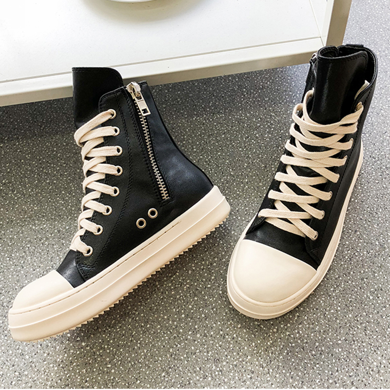 Ro high top shoes womens 2019 new autumn and winter thick soled flat bottom side zipper lace up breathable hip hop versatile canvas shoes