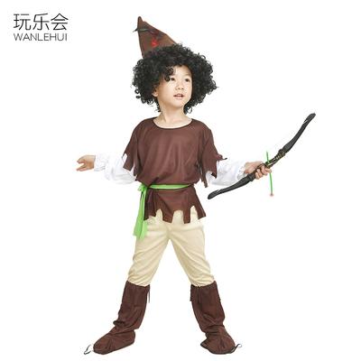 儿童野人演出服非洲罗宾小猎人衣服舞蹈豹纹装猎人印第安表演服装