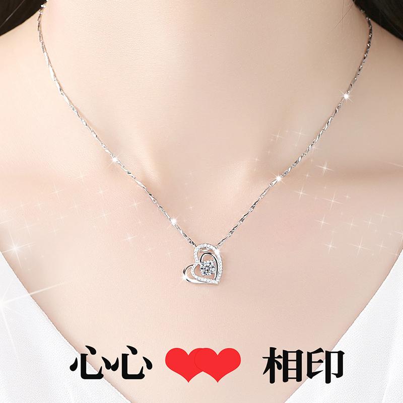 礼物网红纪念学生颈链创意老婆我爱你999纯银项链七夕情人节日韩