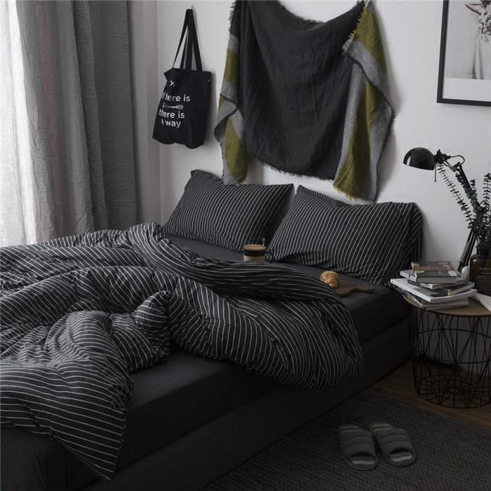 简约春秋纯棉裸睡天竺棉被套四件套全棉ins风床单被单黑色三件套