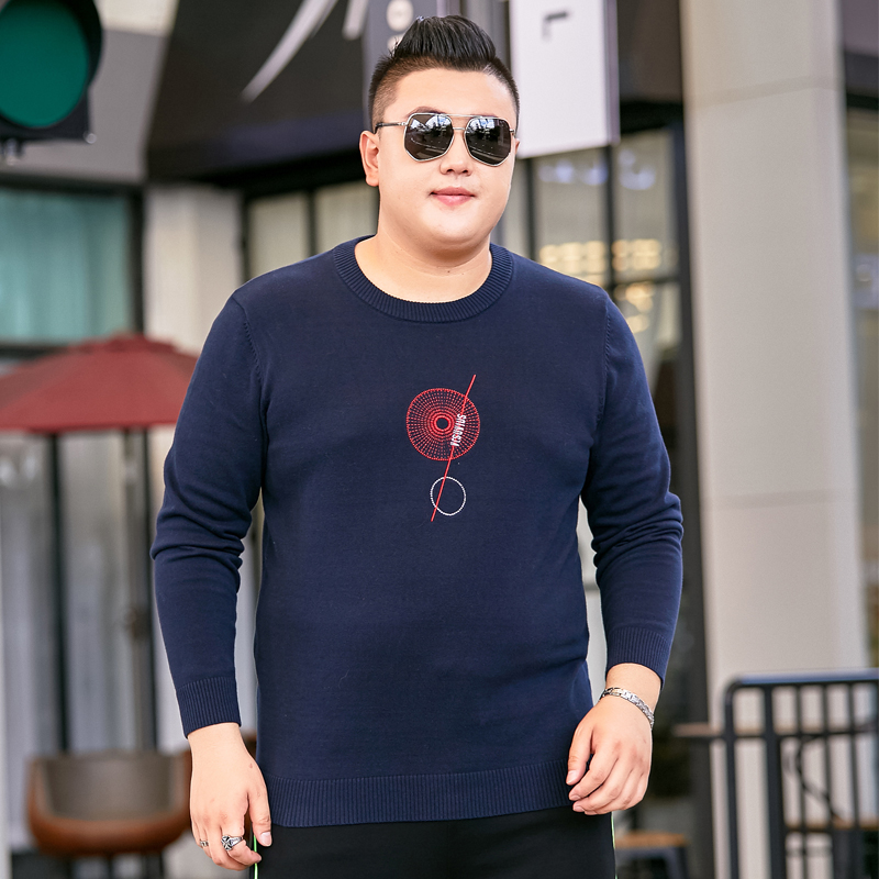 New royal blue mens sweater fat plus large crew neck letter embroidered sweater autumn Pullover Top