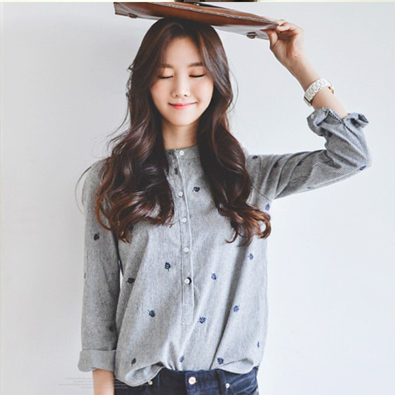 Spring new Korean loose and versatile student college style small fresh stand collar shirt embroidered shirt long sleeve
