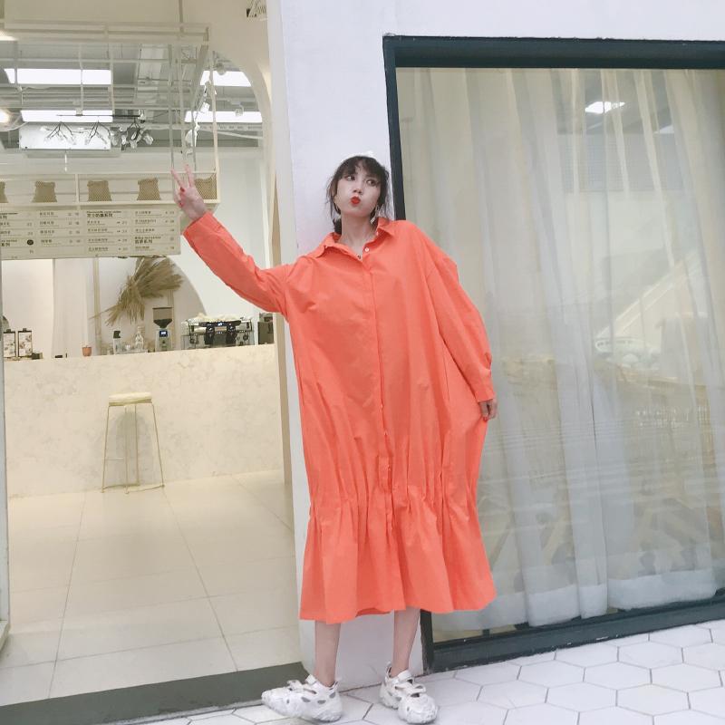宽松连衣裙韩版bf风长款过膝衬衫满88元可用2元优惠券