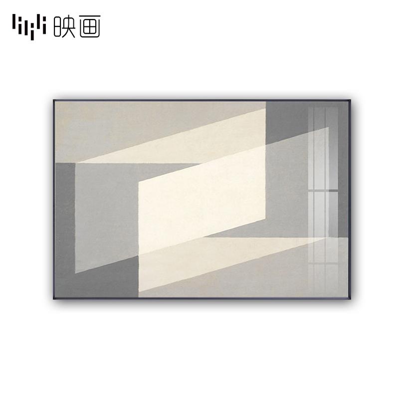 现代客厅装饰画线条色块个性挂画极简工业风书房墙壁画玄关挂画横图片