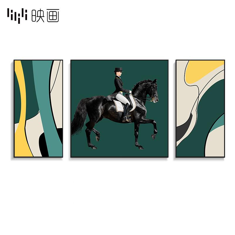 轻奢客厅沙发三联组合画现代马术骑士人物挂画绿色壁画餐厅装饰画图片