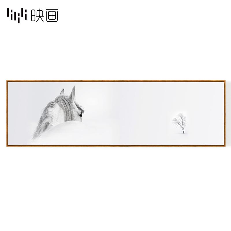 横幅客厅沙发背景墙挂画卧室装饰画床头画简约现代白马头大气壁画图片