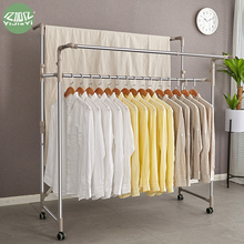 Yijiayi stainless steel large-scale clothes drying rack floor expansion folding mobile clothes hanging rack balcony outdoor quilt drying rack