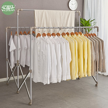 Yijiayi stainless steel clothes drying rack, floor type, folding, retractable and sun drying rack, large and thickened balcony, outdoor clothes rack