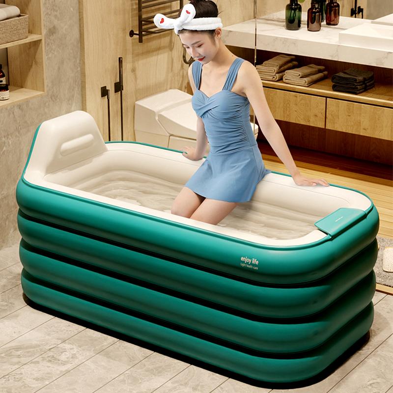充气浴缸大人折叠家用加厚沐浴盆两用汗蒸泡澡神器冬天保温洗澡桶