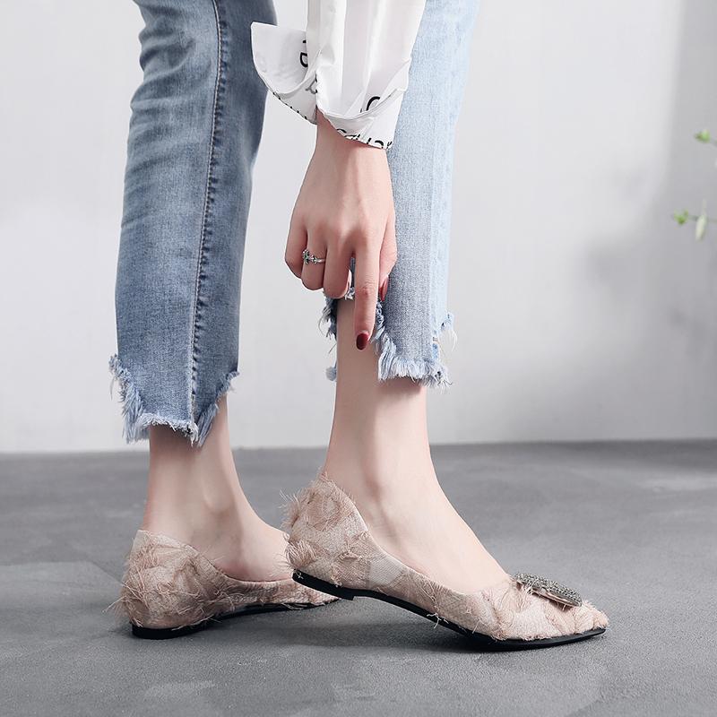 尖头单鞋女2020春季韩版水钻浅口百搭瓢鞋网红软底春款晚晚平底鞋