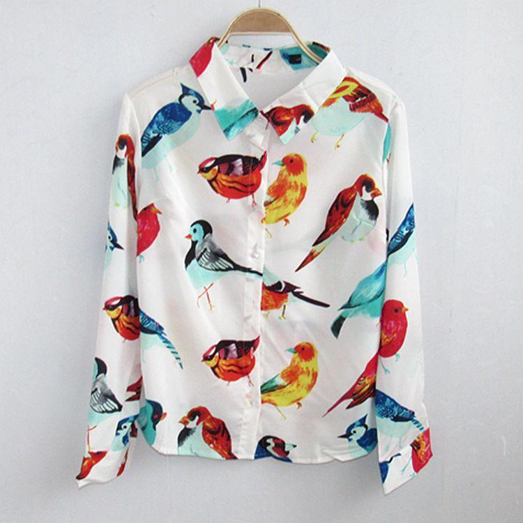 A1-2 рок-США 2016 рубашки женщин длинными рукавами с нового животным печати шифон случайный вопрос 0.1
