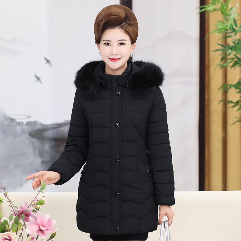妈妈冬装棉衣女40-50岁2017新款秋冬棉袄外套中老年女装羽绒棉服