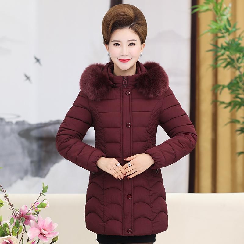 妈妈冬装棉衣外套中长款加厚秋新款中老年人羽绒棉服中年女装棉袄
