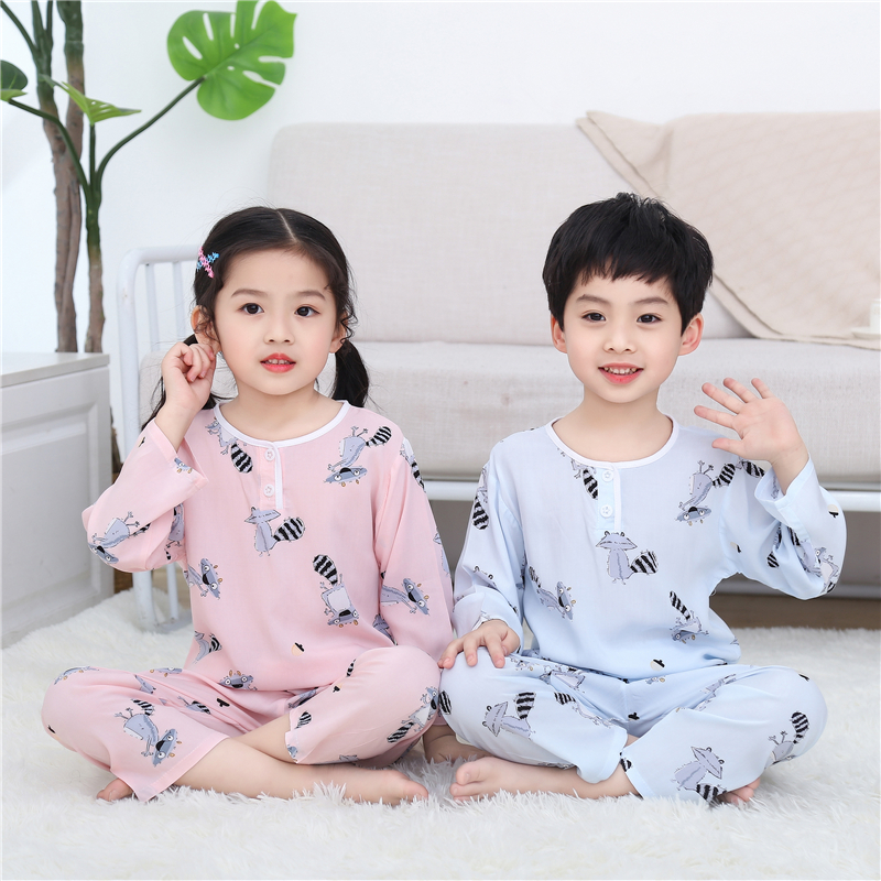 Spring and summer childrens cotton silk home wear set boys and Girls Summer Cotton silk childrens long sleeve air-conditioning clothing home pajamas