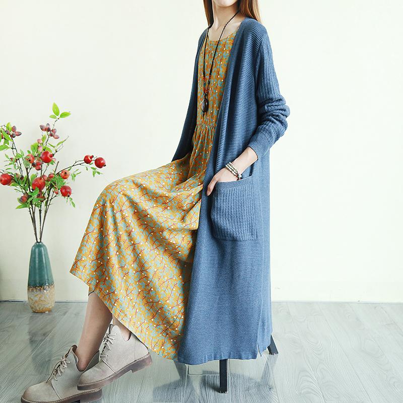 复古文艺大毛衣外套女装秋季中长款针织外搭开衫纯色上衣宽松森系