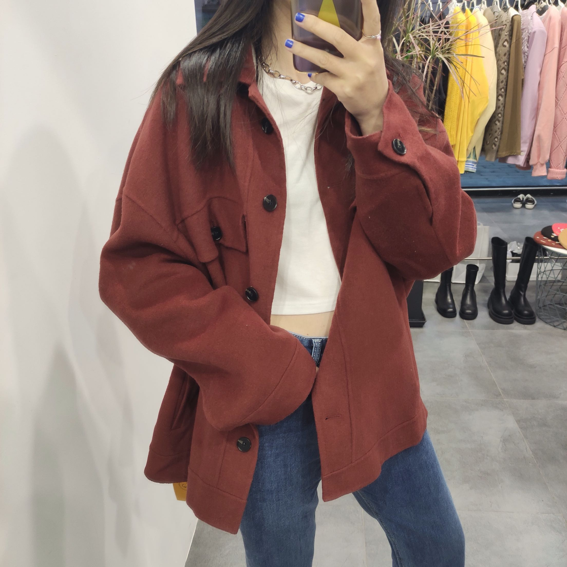 Xtive autumn and winter new fashionable lapel pocket jacket wool double faced tweed loose and thin versatile coat coat