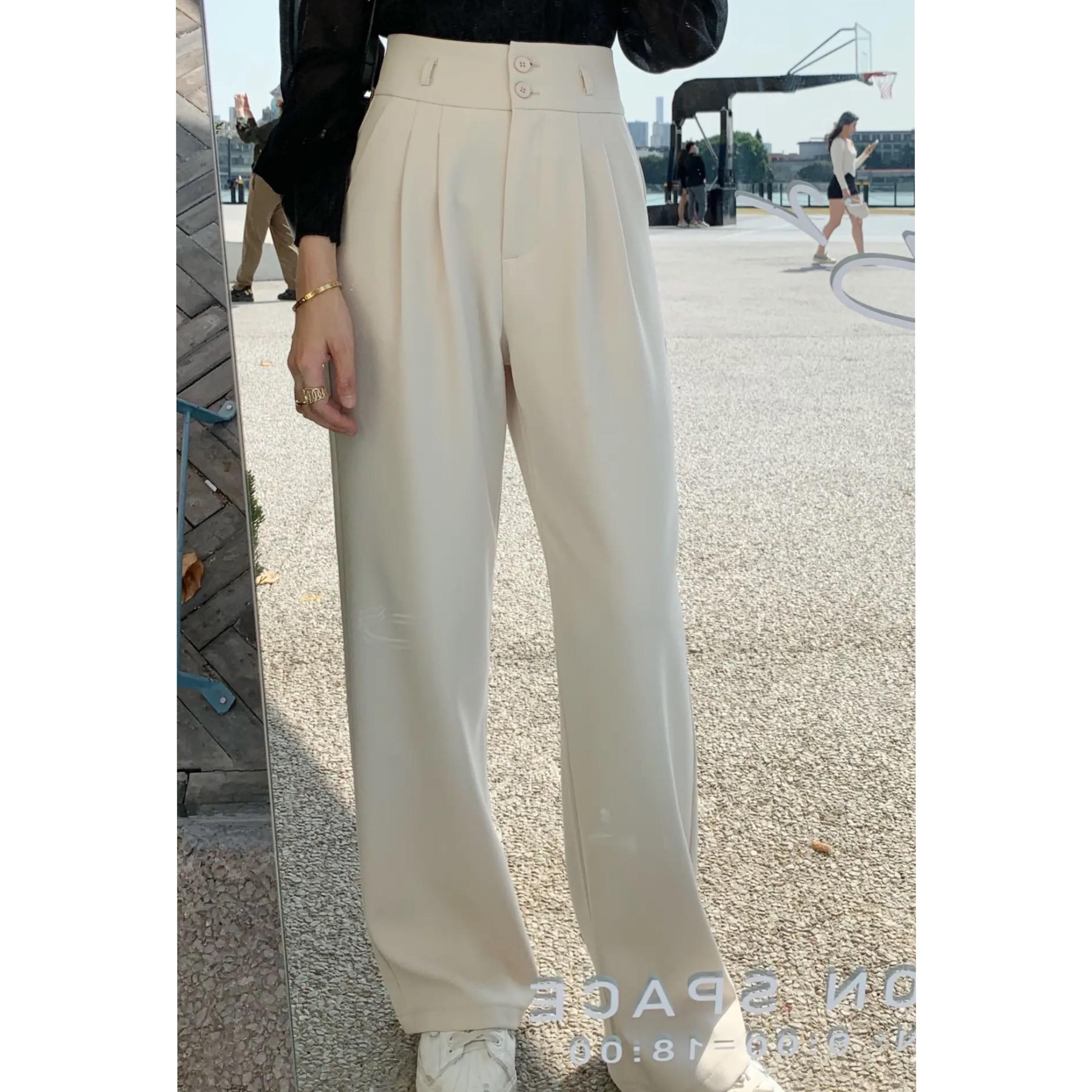 2021春季新款休闲气质直筒拖地西裤女高腰宽松显瘦百搭垂感阔腿裤