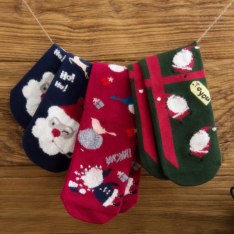 Sock girl Japanese cute cartoon snowman elk Christmas Socks New Years birthday