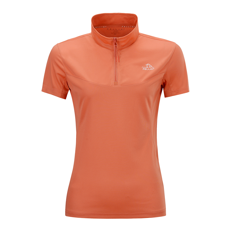 伯希和户外休闲速干衣 女男跑步运动T恤吸湿透气立领短袖健身t恤