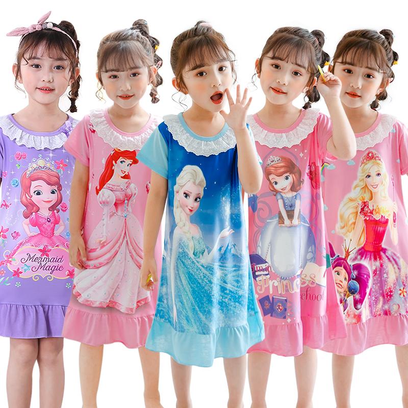 夏季儿童睡裙小女孩纯棉短袖薄款可爱公主宝宝女童睡衣卡通家居服