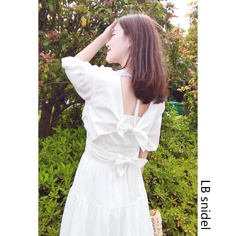 LB snidel 白色连衣裙女夏收腰小个子绑带泡泡袖棉麻露背裙子长裙