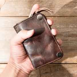 男士真皮钥匙包大容量植鞣牛皮零钱包女卡包头层牛皮汽车钥匙包男图片