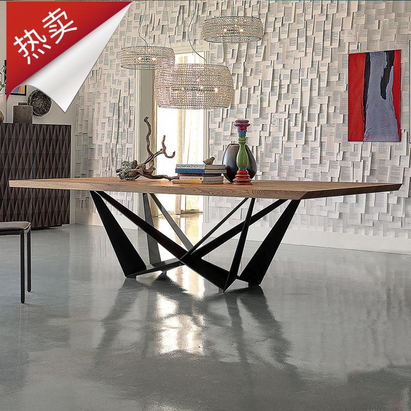 办公桌现代简约铁艺创意实木会议桌长桌loft复古工作台洽谈桌北欧