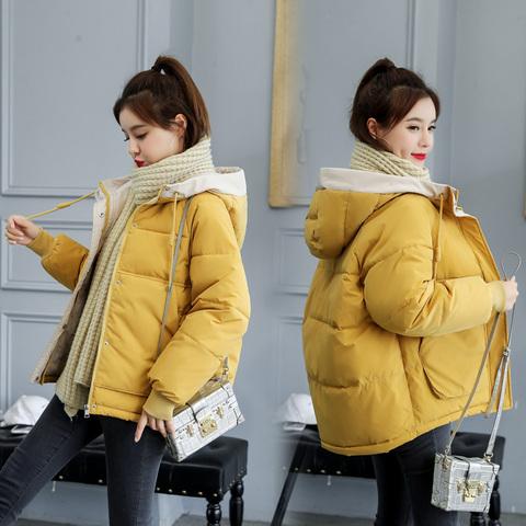 冬季小棉服女短款韩版bf羽绒棉遮肚减龄宽松学生棉衣加厚棉袄外套