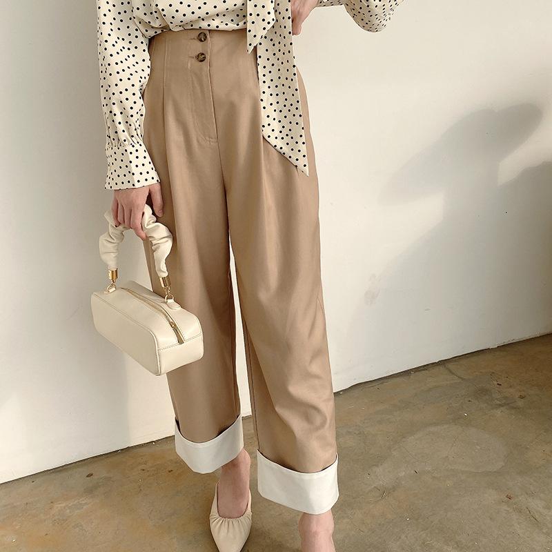 MD design 2021 autumn new flannel wide leg pants womens Khaki casual Capris 15072