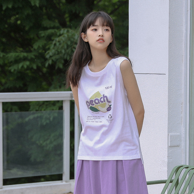 2020 summer new Korean top loose and thin, fresh print pattern students wear vest T-shirt