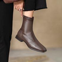 TLX01DD0冬新款复古弹力单靴中跟瘦瘦靴2020天美意女靴绒面短筒靴