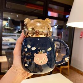 可爱少女心卡通陶瓷水杯防漏水大容量公主杯早餐牛奶咖啡杯带盖图片