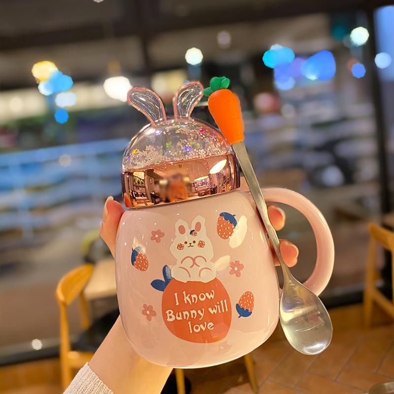 韩版粉嫩可爱少女心兔子陶瓷水杯流沙网红梦幻闪片杯子带盖防漏