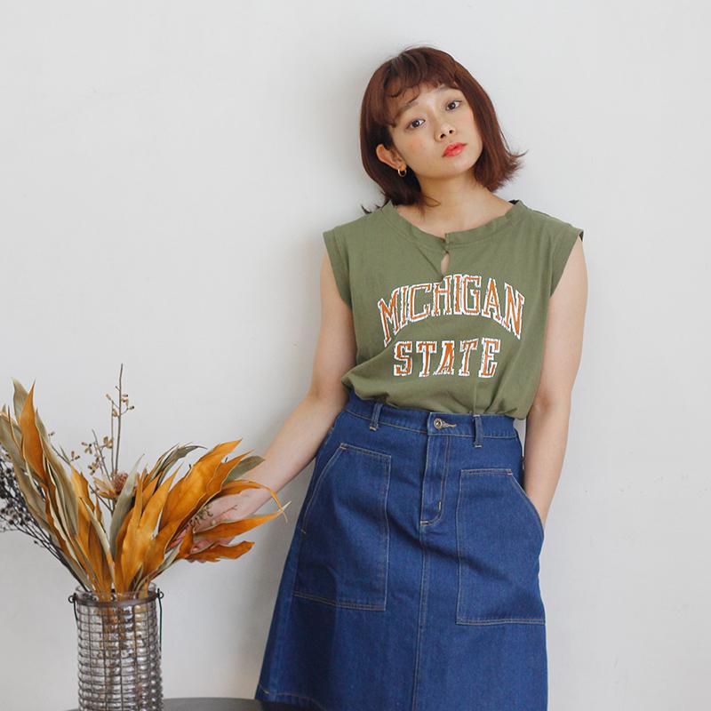 Crisp  日系少女字母印花纯色T恤无袖个性宽松运动风上衣