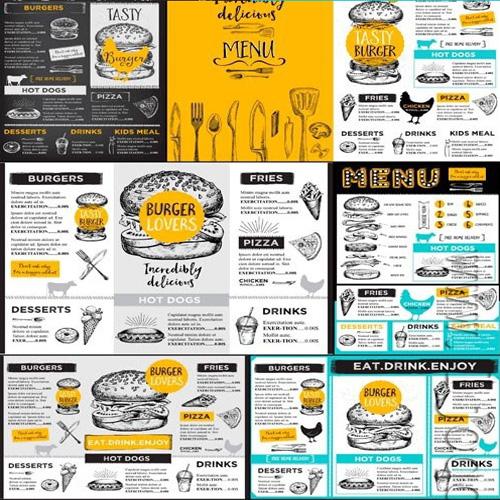 【10P】国外英文手绘餐厅咖啡馆线稿菜单插画插图模板矢量素材