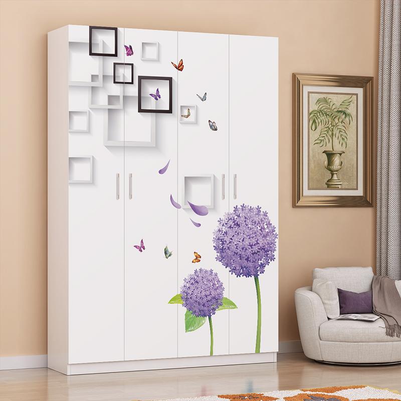 实木烤漆卡通衣柜简约现代板式卧室简易儿童组装大衣橱2门3门4门