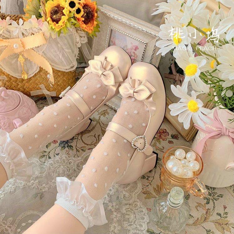 中と丸首のlolita靴のLolita靴の柔らかい妹靴のかわいい小さい靴の日は女性jk制服の靴を結びます。