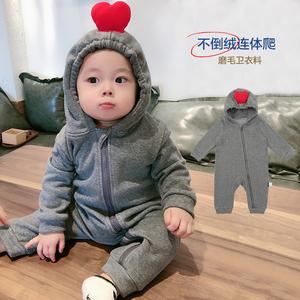 婴儿春秋装加绒衣服可爱超萌潮爬服