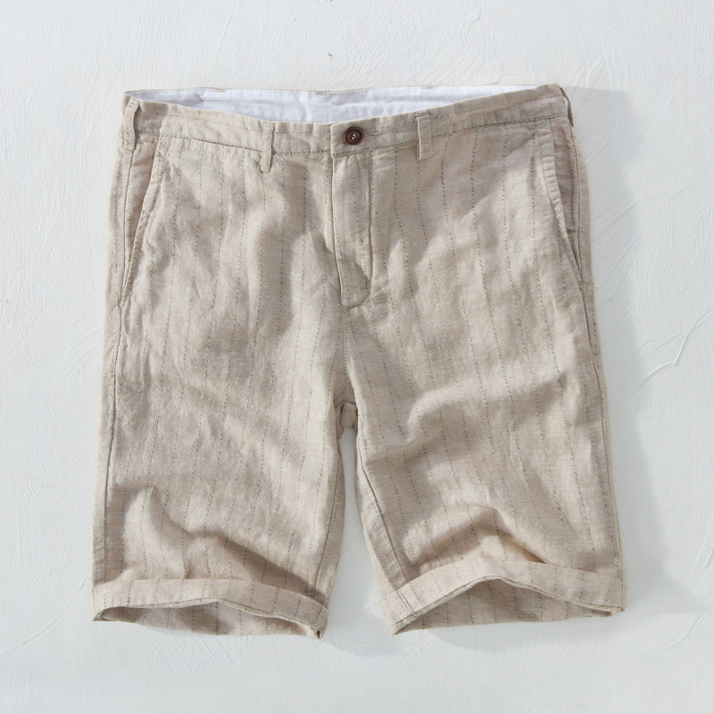 Japanese stripe beach linen shorts mens casual thin straight tube loose linen material youth cotton and linen pants