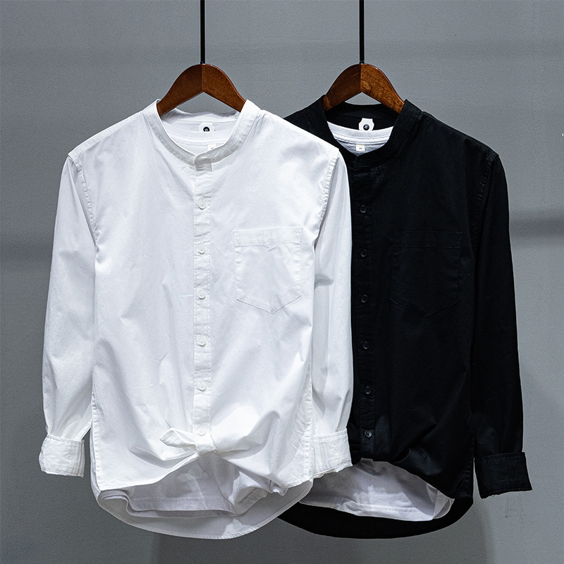 Yuma hot simple basic Pocket Shirt for mens daily leisure linen long sleeve solid color shirt for young men
