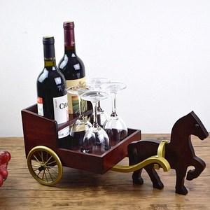 红酒架酒瓶架实木欧式创意客厅酒柜装饰品摆件展示架红酒杯架家用