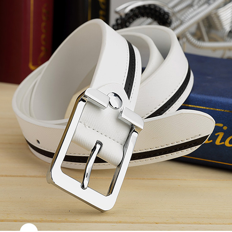 Mens belt leisure junior high school student fashion mens leather white belt cowhide pin buckle trouser belt British women