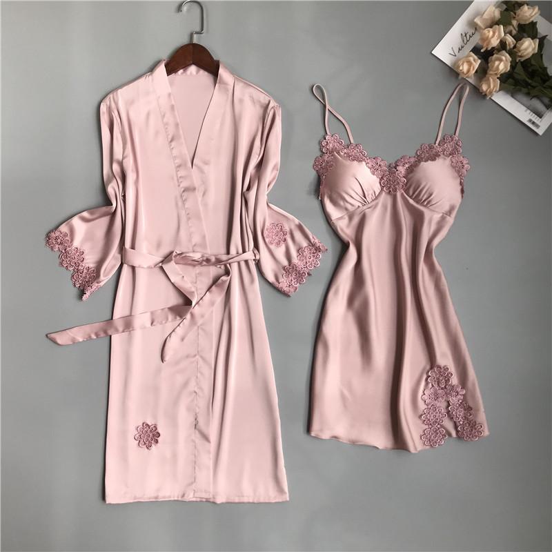 性感睡衣女夏冰丝绸薄款睡裙两件套带胸垫蕾丝吊带聚拢可外穿夏季