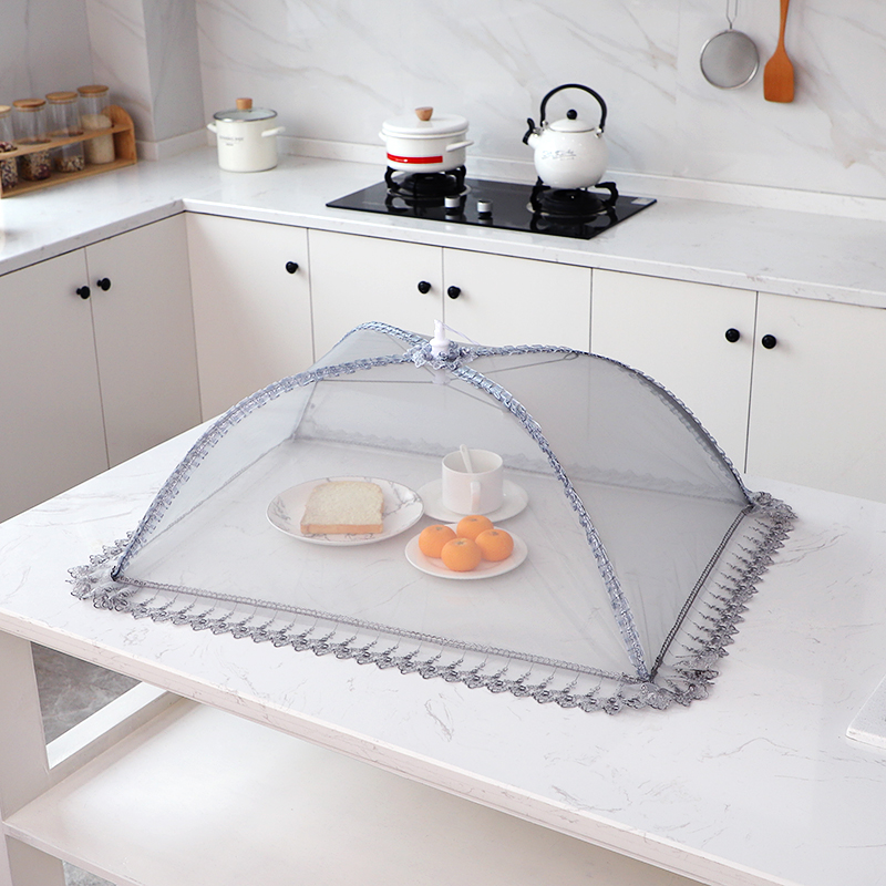 可折叠菜罩微孔透气防尘罩防苍蝇长方形家用盖菜餐桌罩加密网纱罩