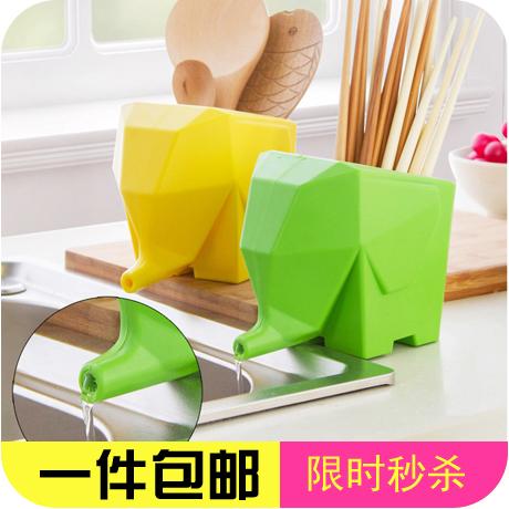 陶瓷小象瀝水器 大象廚衛收納盒 創意筷子籠餐具收納杯牙刷架筆筒