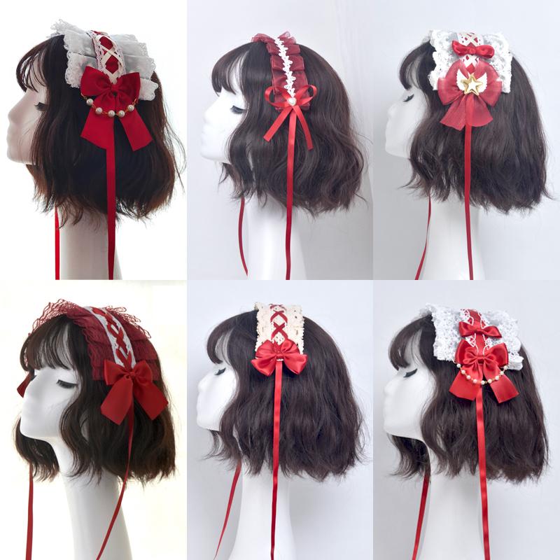 Lolita hair band wine red original Lolita headdress lace KC headband edge clip cute mother hair ornament cute Lo mother small thing