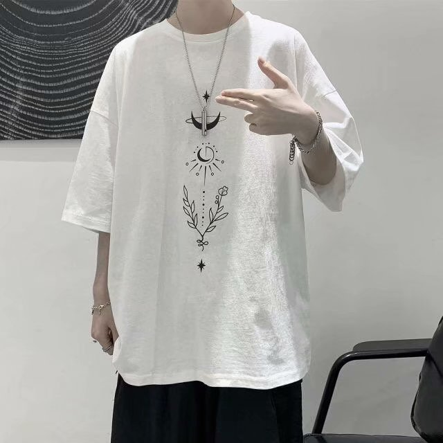 Guochao short sleeve t-shirt mens round neck loose young student new design half sleeve summer fashion brand T-shirt