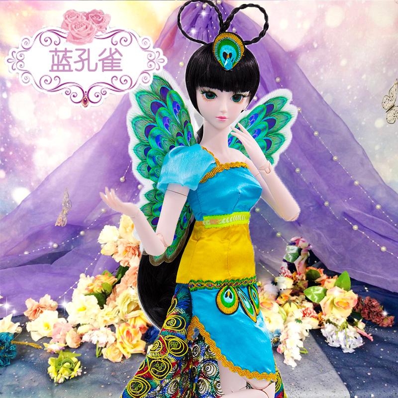 叶罗丽娃娃正品蓝孔雀仙子冰公主萝莉精灵梦60厘米灵公主女孩玩具